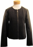 Eileen Fisher Felted Merino Doubleknit with Leather Two Way Zip Jacket