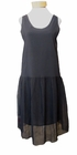 Eileen Fisher Gathered Sheer Silk U-Neck Knee Length Tank Dress - Black