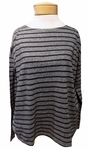 Eileen Fisher Heathered Stripe Organic Cotton Jersey Bateau Neck Box Top - Ash- SOLD OUT