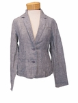 Eileen Fisher Linen Chambray Railroad Stripe Shaped Short Jacket