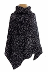 Eileen Fisher Marled Organic Cotton Funnel Neck Poncho - Black/White
