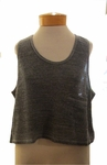 Eileen Fisher Melange Cotton Mesh Scoop Neck Crop Tank - Ash
