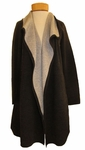 Eileen Fisher Organic Cotton & Cashmere Luxe Double Knit Cascading Long Cardigan - Ash - SOLD OUT