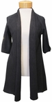 Eileen Fisher Organic Linen Cotton Slub Elbow Sleeve Straight Cardigan - Black