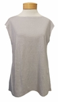 Eileen Fisher Organic Linen Jersey Cap Sleeve Bateau Neck Top - Silver - SOLD OUT