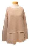 Eileen Fisher Organic Linen Texture Ballet Neck Double Layer Top - Natural - SOLD OUT