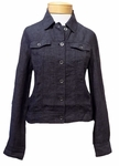 Eileen Fisher Organic Washed Linen Delave Cropped Jacket - Denim - (Size XS)