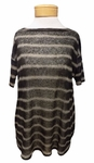 Eileen Fisher Painterly Organic Linen Stripe Bateau Neck Top - Black - SOLD OUT