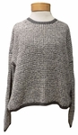 Eileen Fisher Peruvian Organic Cotton Boucle Texture Roundneck Top - Ash/White - (Size S)
