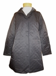 Eileen Fisher Quilted Cotton Nylon with Fleece Stand Collar Jacket - Black - SOLD OUT