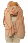 Eileen Fisher Natural Dyed Cotton Silk Refractions Scarf - Toffee/Cream
