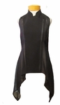 Eileen  Fisher Silk Georgette Crepe with Sheer Silk Stand Collar Vest - Black