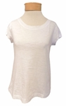 Eileen Fisher Slubby Organic Cotton Jersey Ballet Neck Top - White - SOLD OUT