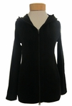 Eileen Fisher Stretch Tencel Fleece Hooded Jacket with Zip - Black - SOLD OUT
