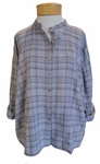 Eileen Fisher Tonal Cotton Plaid Mandarin Top - Moon - SOLD OUT