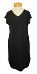 Eileen Fisher Viscose Jersey V-Neck Shift Dress - Black
