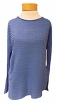 Eileen Fisher Variegated Tencel Rib Bateau Neck Top - Bluebell