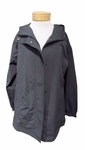 Eileen Fisher Weather Resistant Cotton Nylon Hooded Oversize Jacket - Graphite