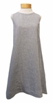 Eileen Fisher Yarn Dyed Handkerchief Linen Round Neck Flared Knee Length Dress - Chambray