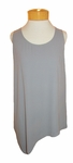 Eileen Fisher Silk Georgette Crepe U-Neck Side Drape Shell - Pewter - (Size M)