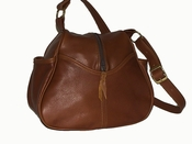 Leather Handbag Made in USA # 511 Med. Brown