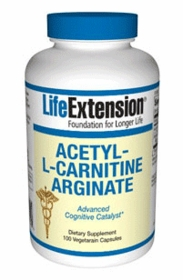 ACETYL-L-CARNITINE ARGINATE - Life Extension 100 Caps - Boosts Mitochondrial Energy Production - Free Shipping, Lower Prices for 4 or More