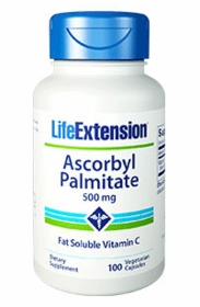 ASCORBYL PALMITATE CAPS - Life Extension Fat Soluble Vitamin C -  (500mg) 100 Vegetarian Caps