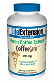 CoffeeGenic GREEN COFFEE EXTRACT with GCA - Life Extension - 90 Vegetarian Capsules (200mg)
