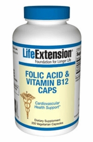 FOLIC ACID & VITAMIN B12 CAPS - Life Extension 400 Caps