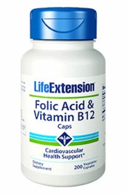 FOLIC ACID & VITAMIN B12 CAPS - Life Extension - 200 Caps - TwinPak