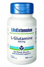 GLUTAMINE CAPS  - Life Extension L-Glutamine 100 Caps (500mg) - TwinPak