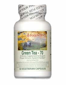 GREEN TEA - 70 - Food Science 70% EGCG per Capsule, 60 Vegicaps - Free Shipping, Lower Prices for 4 or More