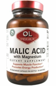 MALIC ACID WITH MAGNESIUM - OLYMPIAN LABS (500mg) 90 Vegetarian Caps - For General Pain, Fibromyalgia, and Migraines