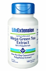 MEGA GREEN TEA EXTRACT - Life Extension - 100 Veg Caps Lightly Caffeinated - Thermogenic