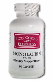 MONOLAURIN - (600mg) - Antiviral - Colds, Flu, Herpes, Shingles, Chronic Fatigue - 90 Caps