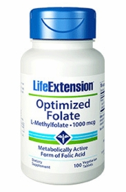 OPTIMIZED FOLATE (L-Methylfolate) (1000mcg) - Life Extension - 100 Vegetarian Tabs