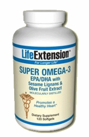 SUPER OMEGA 3 EPA/DHA with Sesame Lignans & Olive Fruit Extract 120 Softgels - Quantity of 4 Now $89.99 + Free Shipping!