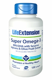 SUPER OMEGA 3 EPA/DHA with Sesame Lignans & Olive Fruit Extract 120 Softgels