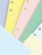 FILOFAX FILLER PAPER IN COLORS FOR 3 3/4 X 6 3/4 LITTLE RING BINDERS