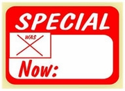 SPECIAL WAS NOW SALE LABEL