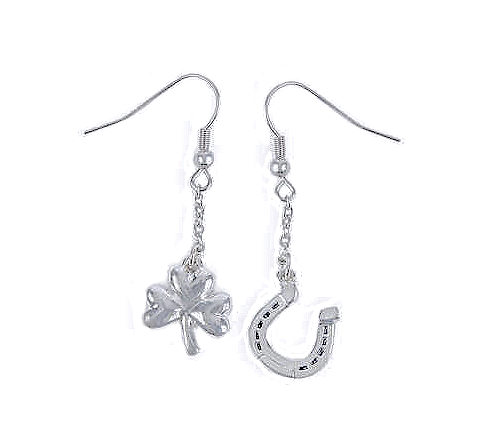 ... Lucky Mix and Match Sterling Silver Earrings - Horseshoe & Shamrock
