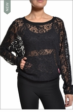 All Over Lace Raglan Sweatshirt (Black) by Hardtail