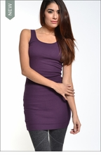 Baby Ribbed Skinny Mini Dress (Concord Grape) by Hard Tail Forever