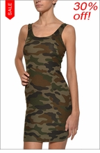 Baby Ribbed Skinny Mini Dress (Urban Camo) by Hard Tail Forever
