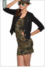 Baby Ribbed Skinny Mini Dress (Urban Camo) by Hardtail