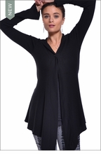 Bell Sleeve Hooded Cardigan (Black) by Hardtail