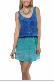 Bemberg Shirt Button Tank Dress (Tie-Dye RH39) by Hard Tail Forever