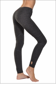 Brushed Heather Flat Waist Keyhole Ankle Legging (Brushed Dark Charcoal & Black) by Hard Tail Forever