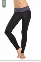 Brushed Heather Flat Waist Skinny Pocket Legging (Brushed Concord & Black) by Hard Tail Forever
