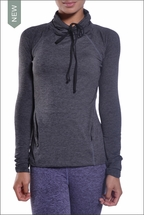 Brushed Heather Funnel Neck Pullover Top (Bruched Charcoal) by Hardtail